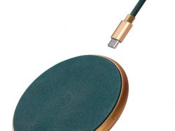Decoded Leather Draadloze IPhone Oplader + Kabel Groen