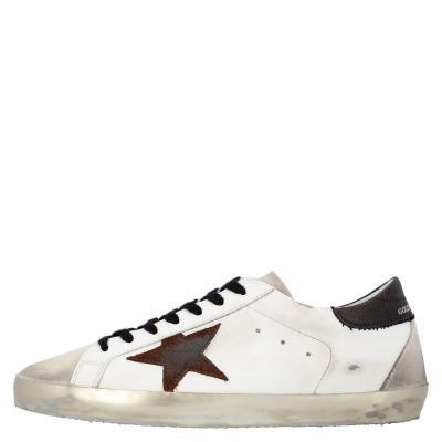 Golden Goose White/Black/Red Leather Superstar Sneakers Size EU 42