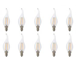 LED Lamp 10 Pack - Kaarslamp - Filament Flame - E14 Fitting - 4W - Warm Wit 2700K