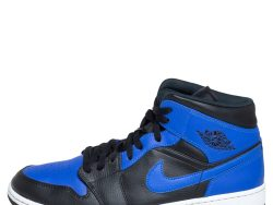 Air Jordan Black/Blue Leather and Fabric 1 Mid Sneakers Size 47.5