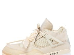 Air Jordan x Off White Beige Leather And Mesh 4 Retro Sail Sneakers Size 43