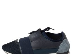 Balenciaga Blue Mesh And Leather Race Runner Low Top Sneakers Size 43