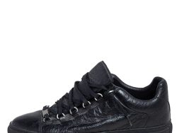 Balenciaga Black Leather Arena Low Top Sneakers Size 42