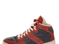 Bottega Veneta Red/Grey Suede And Intrecciato Leather High Top Sneakers Size 43