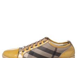 Burberry Beige/Yellow Canvas And Patent Leather Sneakers Size 40