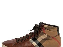Burberry Brown Leather and Check Canvas High Top Sneakers Size 41