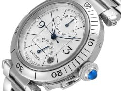 Cartier Silver Stainless Steel Pasha Power Reserve GMT W31037H3 Men's Wristwatch 38 MM
