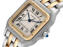 Cartier Silver 188K Yellow Gold And Stainless Steel Panthere W25028B8 Men's Wristwatch 26 x 36 MM