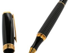 Chopard Racing Black Rubber Yellow Gold Plated Rollerball Pen