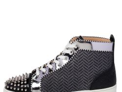Christian Louboutin Black/Silver Leather And Woven Fabric Spikes Orlato Flat Sneakers Size 44.5