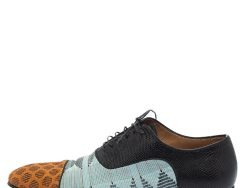 Christian Louboutin Multicolor Embossed Leather And Printed Fabric Greggo Lace Up Oxford Size 42