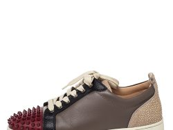 Christian Louboutin Multicolor Leather Spiked Louis Junior Low Top Sneakers Size 41