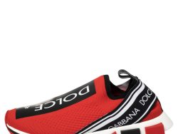 Dolce & Gabbana Red Knit Fabric Sorrento Slip On Sneakers Size 43