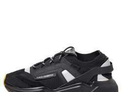 Dolce & Gabbana Black Suede And Knit Fabric Daymaster Low Top Sneakers Size 42