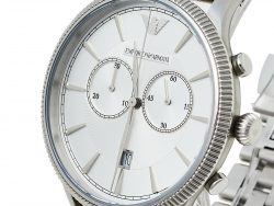 Emporio Armani Silver Stainless Steel Classic AR1796 Men's Wristwatch 43 mm