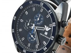 Emporio Armani Black Ion-Plated Stainless Steel Leather Sportivo AR5916 Men's Wristwatch 42 mm