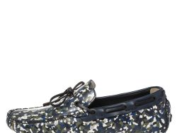 Fendi Navy Blue/Green Leather Military Moccasins Size 43
