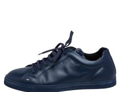Fendi Navy Blue Leather Faces Low Top Sneakers Size 42