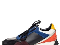 Fendi Multicolor Suede And Leather Low Top Sneakers Size 43
