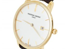Frederique Constant Silver Gold Plated Stainless Steel Leather Slimline FC-306X4S25/6 Men's Wristwatch 40 mm