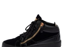 Giuseppe Zanotti Dark Blue/Black Velvet And Patent Leather High Top May London Sneakers Size 43