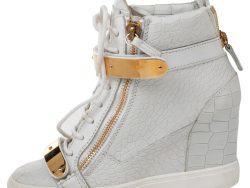 Giuseppe Zanotti White Croc Embossed And Leather Lorenz Wedge High Top Sneakers Size 38