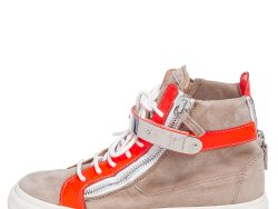 Giuseppe Zanotti Beige/Neon Orange Patent Leather and Suede Double Bar High Top Sneakers Size 38.5