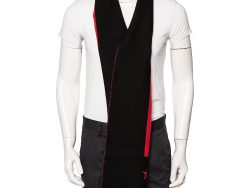 Givenchy Red & Black Striped Intarsia Wool Scarf