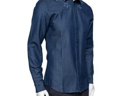 Givenchy Navy Blue Denim Star Embroidered Button Front Shirt M
