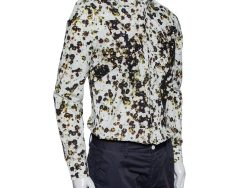 Givenchy White Wreath Printed Cotton Patch Belt Detail Button Front Shirt M