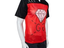 Gucci Black Jersey & Red Mesh Ghost Printed T-Shirt XS