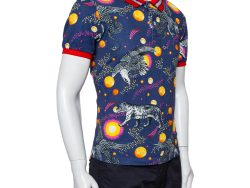 Gucci Blue/Red Space Animal Print Cotton Polo T-Shirt L