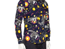 Gucci Navy Blue Planets & Animals Printed Cotton Button Front Shirt S