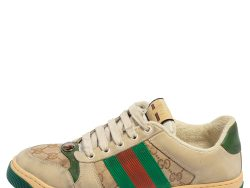 Gucci Beige/Green GG Canvas And Leather Screener Low Top Sneakers Size 40.5