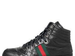 Gucci Black Leather Web High Top Sneakers Size 44