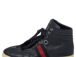 Gucci Blue Guccissima Leather Web Detail High Top Sneakers Size 42.5