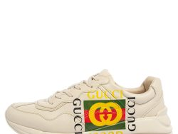 Gucci Cream Leather Rhyton Vintage Logo Low Top Sneakers Size 43