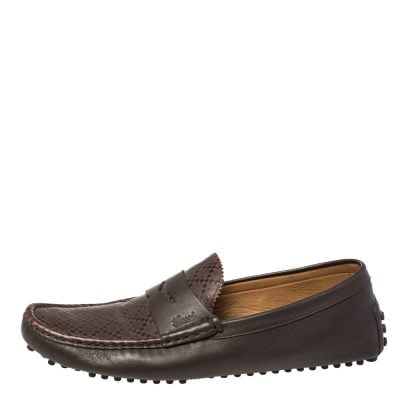 Gucci Dark Brown Diamante Leather Slip On Loafers Size 45