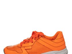 Gucci Orange Perforated Leather Low Top Sneakers Size 41