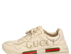 Gucci Cream Leather Rhyton Low Top Sneakers Size 42.5