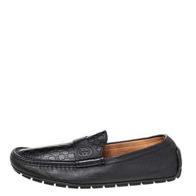 Gucci Black Guccissima Leather GG Slip On Loafers Size 43