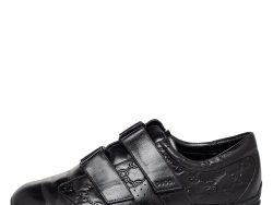 Gucci Black Guccissima Leather Velcro Low Top Sneakers Size 42.5