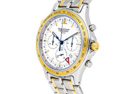 Jaeger LeCoultre White 18K Yellow Gold And Stainless Steel Heraion Chronograph QA116501 Men's Wristwatch 36 MM
