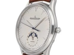 Jaeger LeCoultre Silver Stainless Steel Master Ultra Thin Moon Q1368420 Men's Wristwatch 39 MM