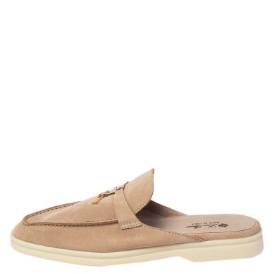 Loro Piana Beige Suede Babouche Charms Flat Mules Size 41