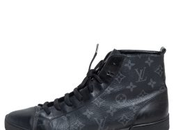 Louis Vuitton Black Leather and Monogram Eclipse Canvas Match Up High Top Sneakers Size 43
