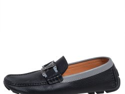 Louis Vuitton Grey/Black Leather Monte Carlo Moccasin Loafers Size 39
