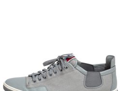 Louis Vuitton Grey Canvas and Leather Low Top Sneakers Size 45