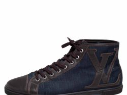 Louis Vuitton Brown/Blue Damier Ebene Canvas and Leather High Top Sneaker Size 44