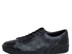 Louis Vuitton Graphite Canvas and Leather Match Up Low Top Sneakers Size 42.5